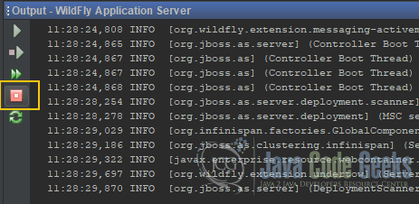 JBoss WildFly NetBeans - Stop server from output console in NetBeans
