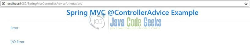 Spring MVC @ControllerAdvice Annotation - Index page