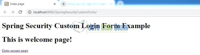 Spring Security Custom Form Login - Index page
