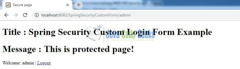 Spring Security Custom Form Login - Secure page