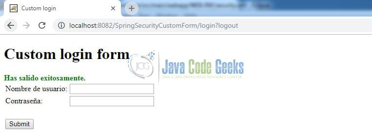 Spring Security Custom Form Login - Sign-out message