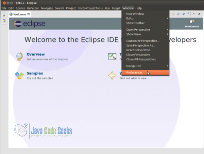 Eclipse IDE Yocto Plugin - Select Window -> Preferences