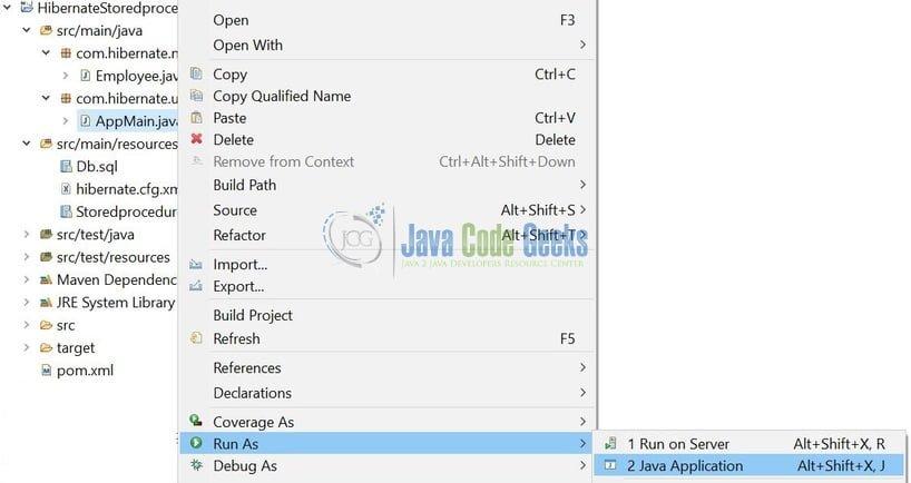 Hibernate Calling Stored Procedure Example | Examples Java Code