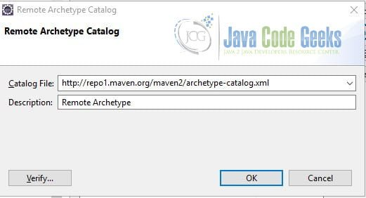 Apache Maven Eclipse Project Creation - Remote Catalog