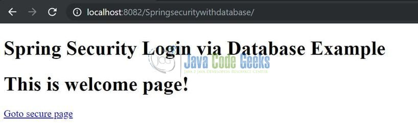 Spring Security via Database Authentication - Index page