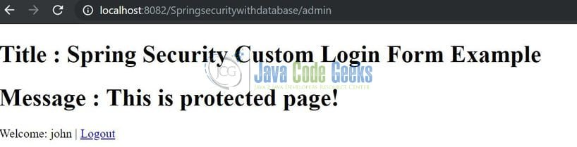Spring Security via Database Authentication - Secure page
