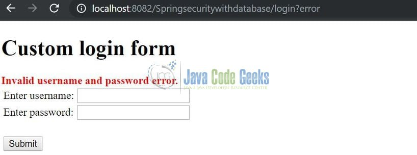 Spring Security via Database Authentication - Error message