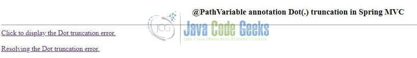 Spring MVC @PathVariable dot(.) get truncated - Output Page