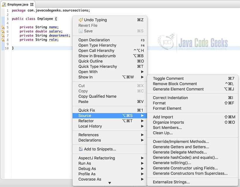 OOPS Concepts Java - Source Actions in Eclipse