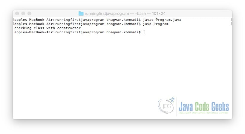 Run Your First Java Program - with Constructor