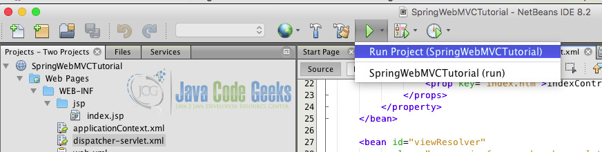 Spring Netbeans - Running the project