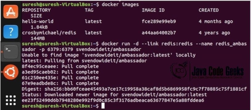 Docker Link via Ambassador Container - linked to the Redis server