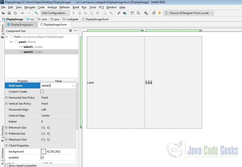 IntelliJ IDEA GUI Designer - Add second JLable