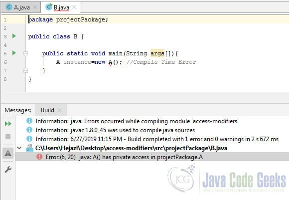 Access Modifiers in Java - Error for private constructor