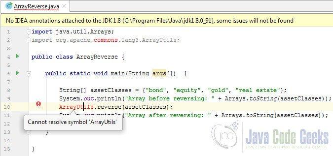 Reverse Array Java Example   Examples Java Code Geeks - 2019