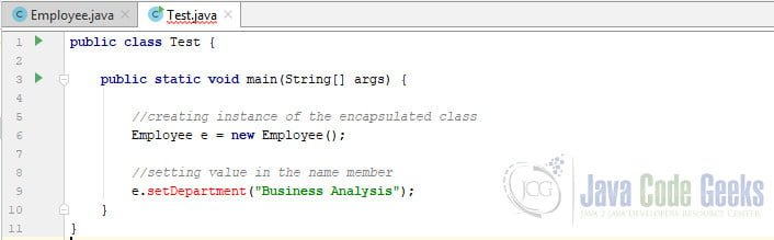 Encapsulation Java - Compile time error