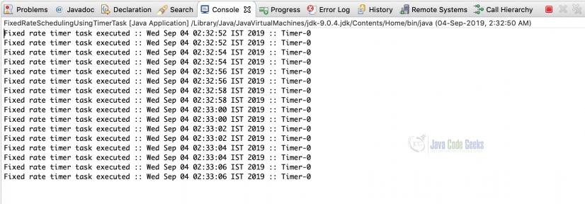 Java Scheduling - Output of FixedRateSchedulingUsingTimerTask class
