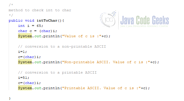 int to char Java - int to char conversion