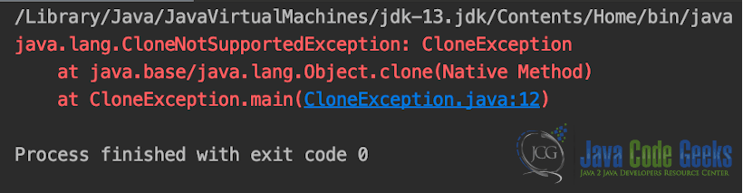 Java Exceptions List - CloneException Class