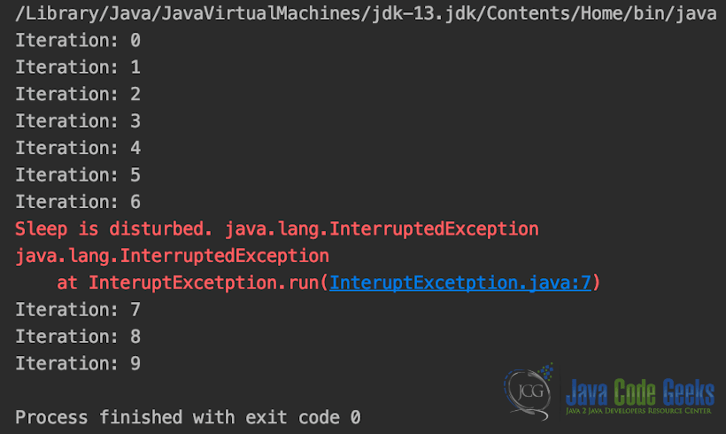 Java Exceptions List - InteruptExcetption Class