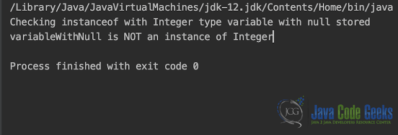 null in Java - Output of  NullWithInstanceOf.java