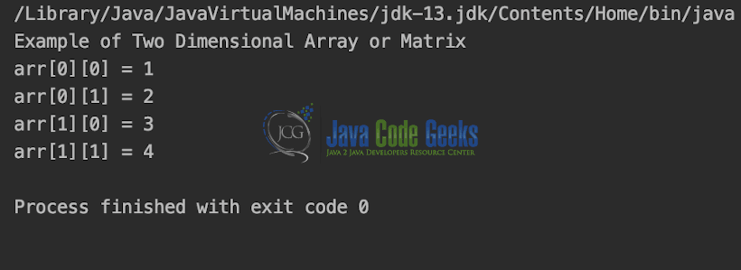 Java Data Structures - Output of Matrix.java