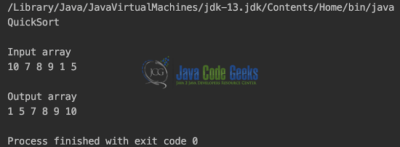 Java Data Structures - Output of QuickSort.java
