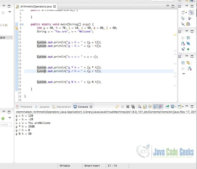 Java Operators - Arithmetic Operators