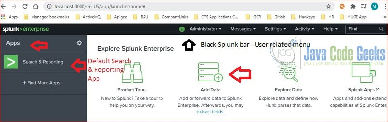 splunk interface - landing page