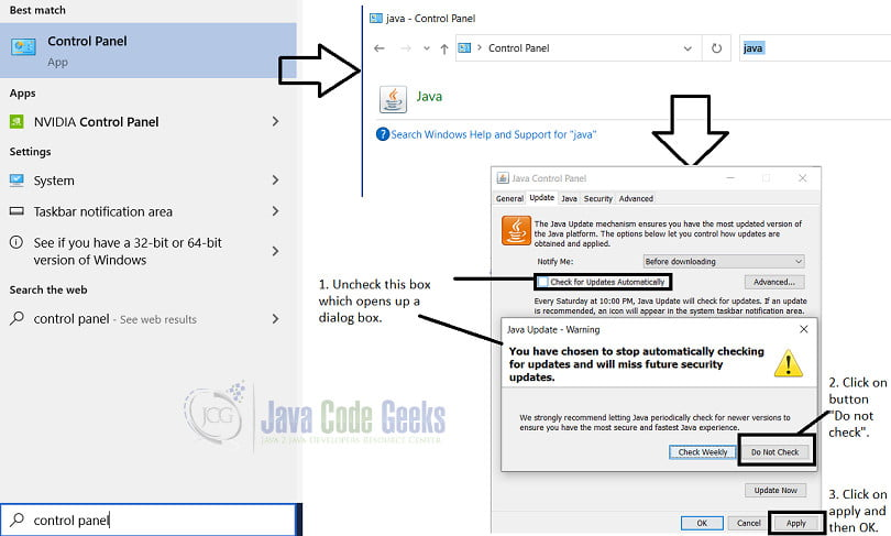 java update check - Disable auto updates through Control panel